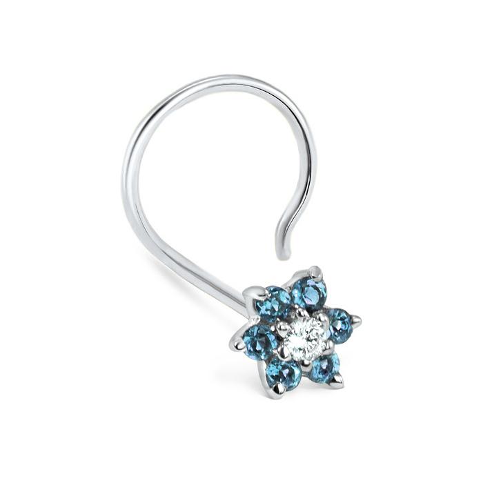 043d953ec 14K White Gold Blue Diamond Flower Nose Screw 20G - Diamond Nose Rings