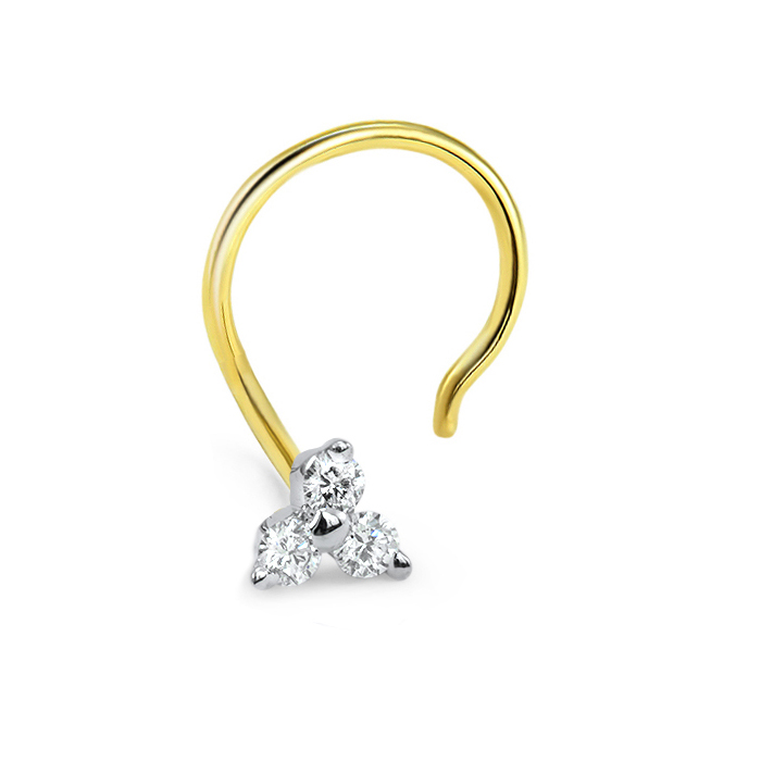 14k Gold Trinity 3 Stone Nose Screw 20g Diamond Nose Rings