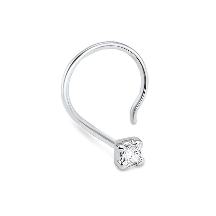 14k White Gold Princess Cut Diamond Nose Screw 20g Diamond Nose