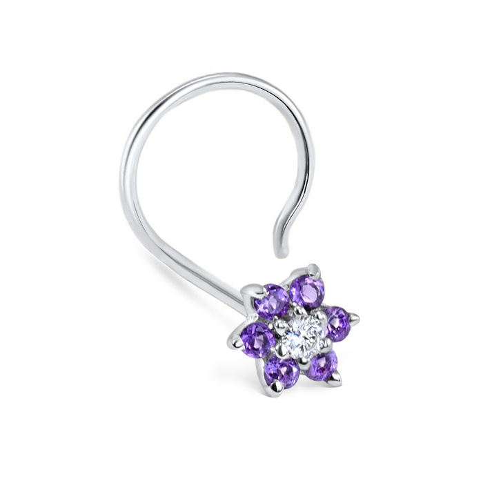 14k White Gold Amethyst Flower Nose Screw 20g Diamond Nose Rings