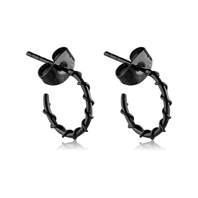 b84d20196a756 Black PVD Coated 316L Surgical Steel Wire Wrapped Hoop Earrings