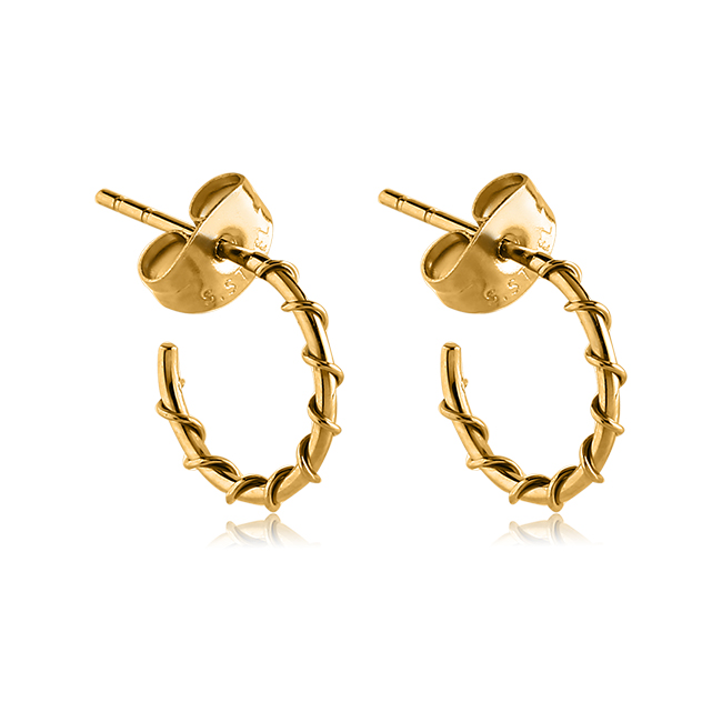 Gold Pvd Coated 316l Surgical Steel Wire Wred Hoop Earrings