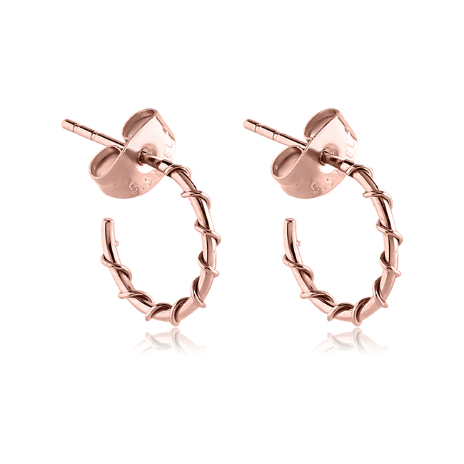 Rose Gold Pvd Coated 316l Surgical Steel Wire Wrapped Hoop