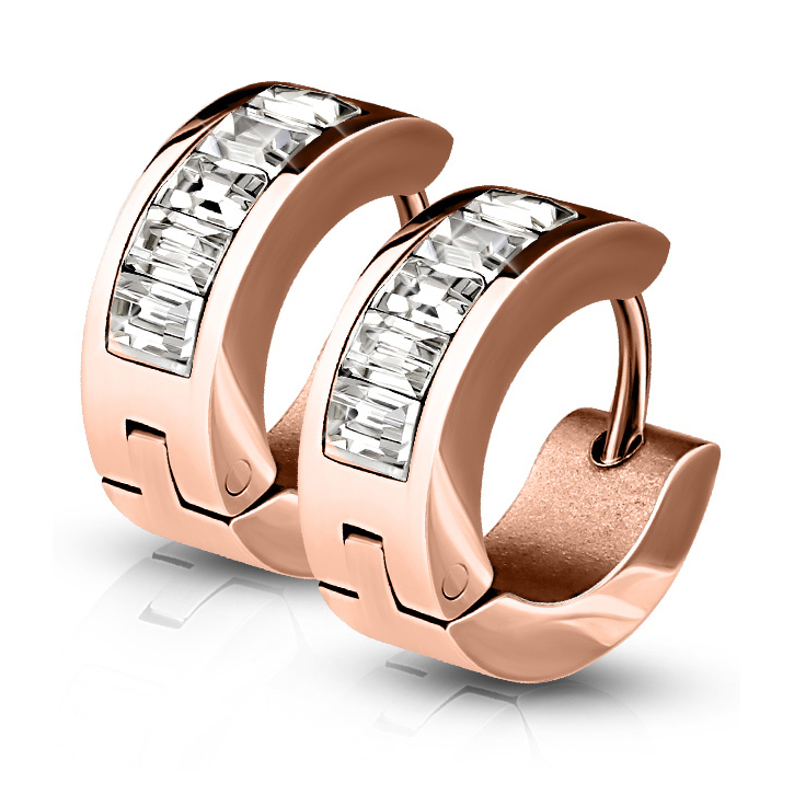 Rose Gold Plated 316l Surgical Steel Rectangle Crystal Hinged Huggie Earrings Diamond Nose Rings