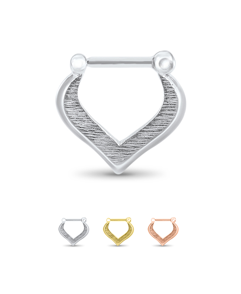 925 Sterling Silver Gold Plated Septum Clicker Tear Drop Diamond Nose Rings