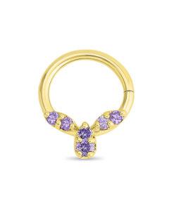 Gold Septum Ring with Amethyst Gemstones