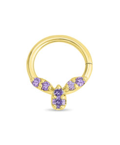 Gold Septum Ring with Amethyst Gemstones