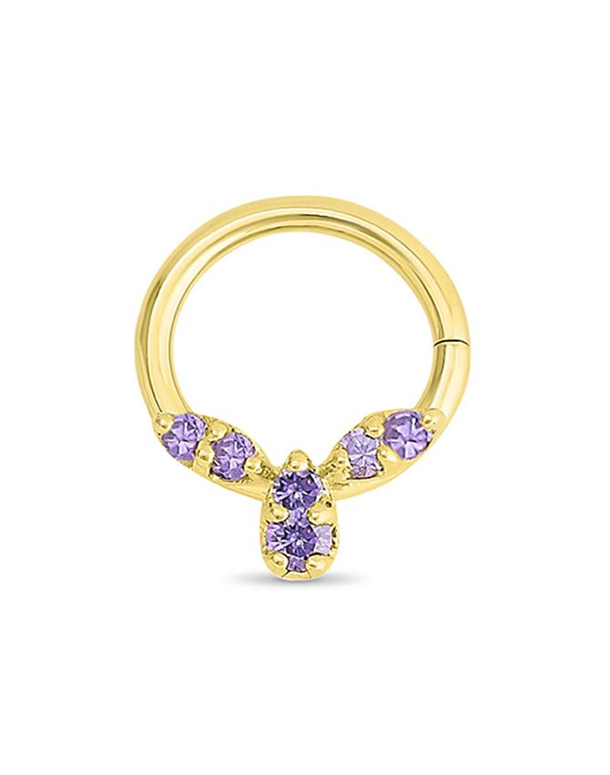 14k Yellow Gold Septum Nose Ring Amethyst Purple 16g Diamond