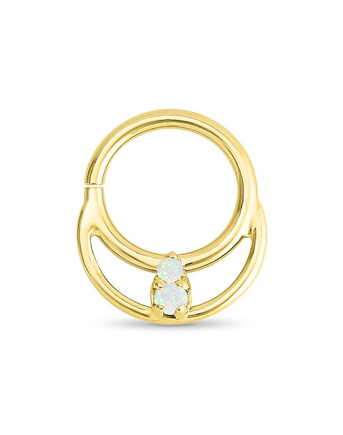 14k Yellow Gold Septum Nose Ring Crescent Opal 16g Diamond Nose