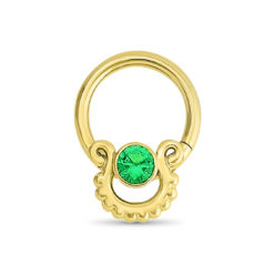 Gold Nose Hoop with Emerald Stone
