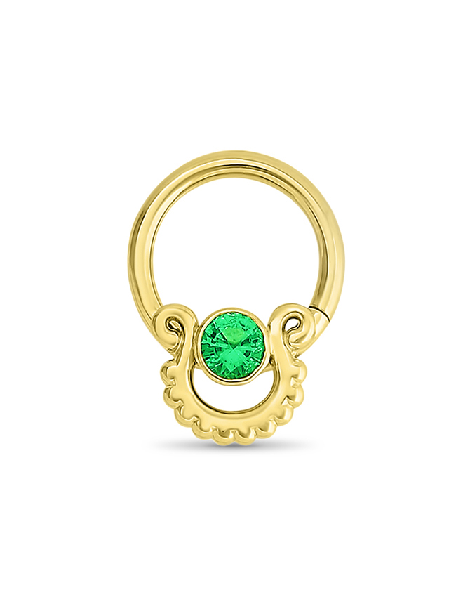 14k Yellow Gold Septum Nose Ring Emerald 16g Diamond Nose Rings