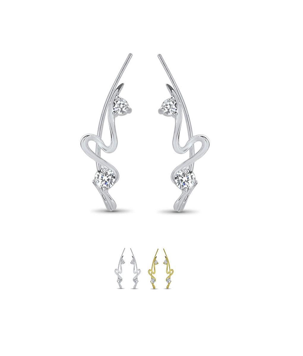 925 Sterling Silver Or 18k Gold Plated Ear Crawler Vine Sweep Earrings