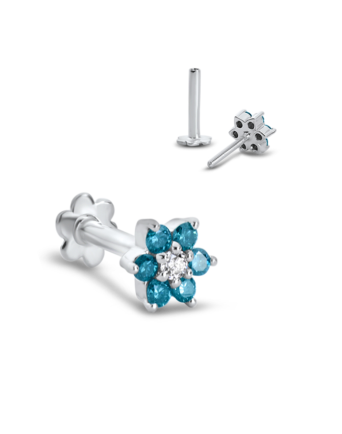 14k White Gold Labret Style Nose Stud 5mm White And Blue Flower Genuine Diamonds Diamond Nose Rings