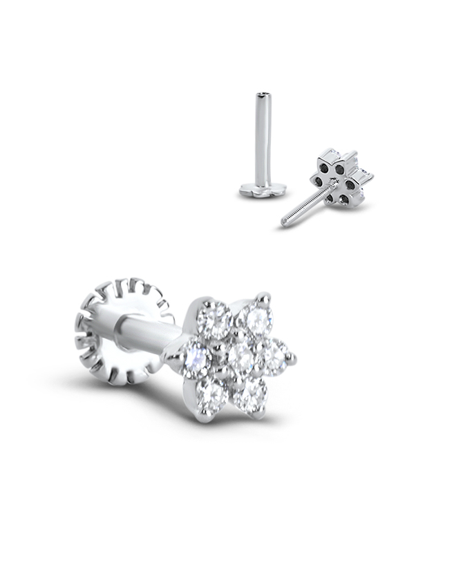 14k White Gold Labret Style Nose Stud 5mm Flower Genuine Diamonds